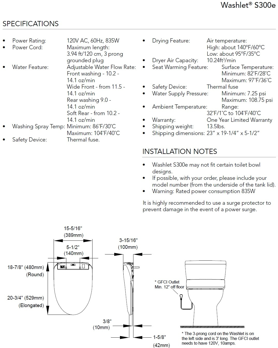 TOTO S300e Washlet Specifications